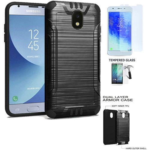 Phone Case Compatible for Samsung Galaxy J3-Orbit, Galaxy J3 Mission-2  (Verizon) Tempered Glass with Dual-Layered Cover (Combat Brush Black-Black