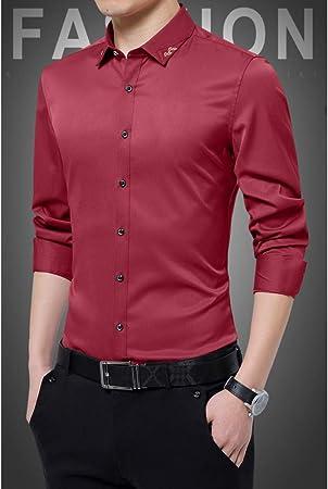 CSDM Camisa de Hombre New Spring 95% Poliéster Fibra Hombres Camisa de Manga Larga Sin Plancha Camisa Casual Camisas Slim Fit Camisa de Vestir de Hombre: Amazon.es: Hogar