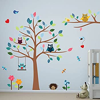 Timber Artbox Cheerful Nursery Wall Decals With Owls U0026 Tree   Best Décor  For Kids Room, Nursery U0026 Playroom