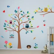 Timber Artbox Cheerful Nursery Wall Decals with Owls & Tree - Best Décor for Kids Room, Nursery & Playroom