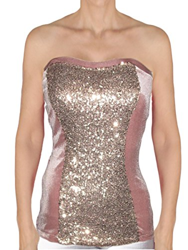 Ooh la la Strapless Bustier 2 Tone Special Occasion Tank Top Corset Blouse (X-Large 38-39, Rose Gold / (Two Tone Bustier)