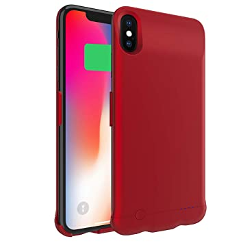 Happon Funda Bateria iPhone XS MAX, 6200mAh Batería Cargador Externa Ultra Carcasa Batería Recargable Power Bank Portatil para iPhone XS MAX - Rojo
