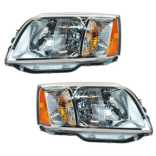 Headlights Headlamps Left & Right Pair Set for 04-08 Mitsubishi Endeavor