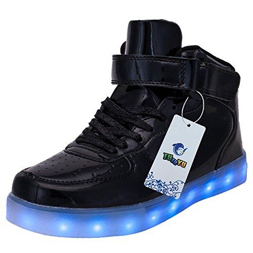 TUTUYU Kids & Adult 11 Farben LED leuchten Schuhe High Top blinkende Turnschuhe für Weihnachten Helles Schwarz