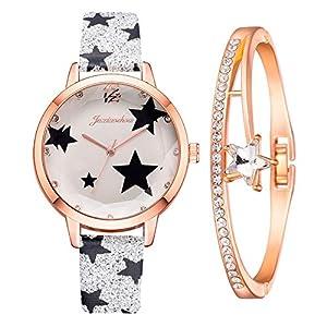 MGCG Quadrante a foglia di orologio al quarzo semplice e alla moda, semplice cinturino in lega da donna intarsiato con… 16