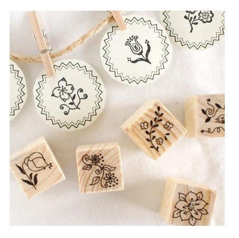 12 Kinds Korea DIY Decoden Wooden Stamp Set Rubber Stamps -