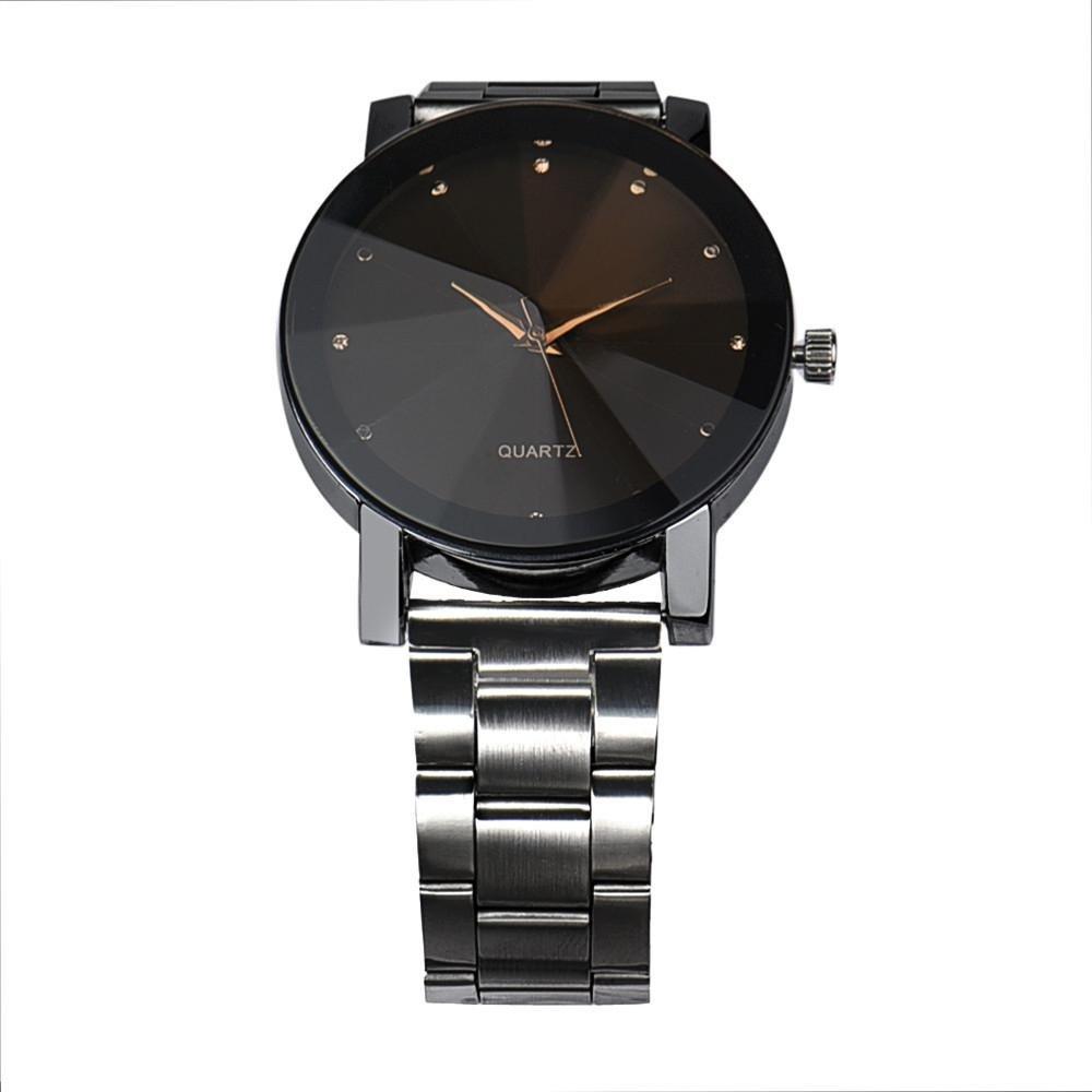 YANG-YI Fashion Women Crystal Stainless Steel Analog Quartz Round Wrist Watch Bracelet (Black) by YANG-YI (Image #2)