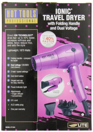 Hot Tools Professional Ht1044 Ionic 1875 Watt Travel Dryer with Folding Handle and Dual Votage by Hot Tools (Image #2)