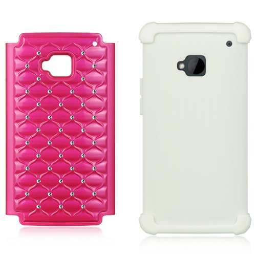 Dual Diamond Back Cover with Silicone Skin For HTC ONE M7 4.7-inch Super LCD 3 (NEWEST 2013 VERSION) + Screen Protector + Bluetooth Speaker by eBigValue (Image #4)