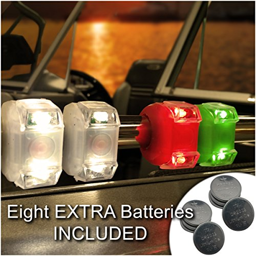 Bright Eyes Green, Red, White Portable Marine LED Emergency Water-Resistant Boating Lights - Boat Bow or Stern Safety Light (Lights Boat Running)