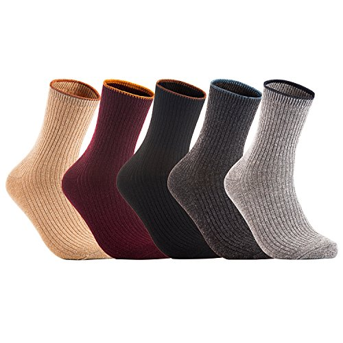 Boot Blend Sock (Lovely Annie Women's 5 Pairs Pack Wool Blend Crew Boot Socks Crew Casual Size 7-9 5 Colors)