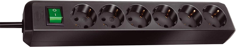 Brennenstuhl 1159500400 Eco-Line regleta de enchufes con 6 Tomas de Corriente (Interruptor, protección Infantil), 230 V, Negro, 3 m