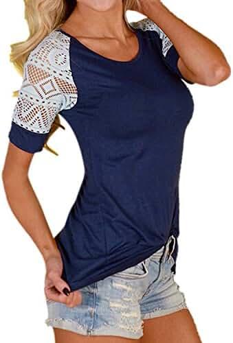 ZANZEA Women's Sexy O Neck Lace Stitching Short Sleeve Slim T Shirt Tops Blouse