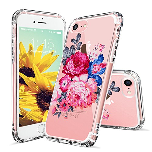 iPhone 7 Case, iPhone 8 Case, Clear iPhone 7 Case, MOSNOVO Peony Floral Flower Printed Clear Design Plastic Hard Case with TPU Bumper Protective Case Cover for iPhone 7 (2016) / iPhone 8 (2017)