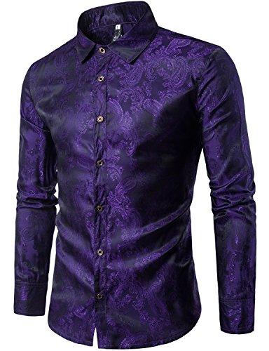 ZEROYAA Mens Hipster Paisley Floral Slim Fit Long Sleeve Casual Button Down Dress Shirts Z62 Purple Medium