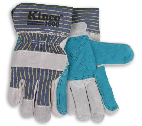 Kinco 1600 Unlined Premium Cowhide Leather Double Palm Glove, Work, Large, Gray (Pack of 6 Pairs)