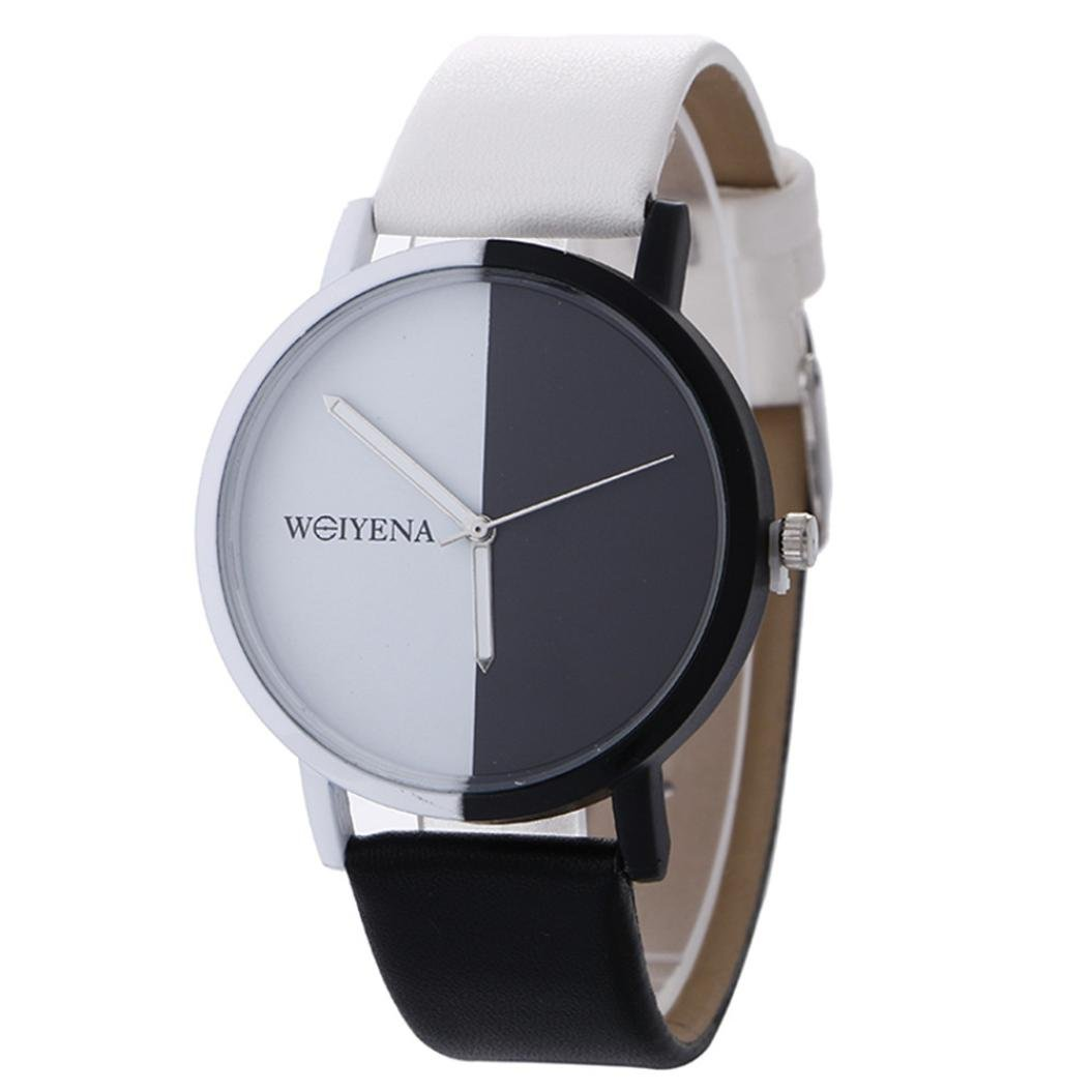 Becoler Fashion Leather Quartz Wrist Watch with Black and White Pattern