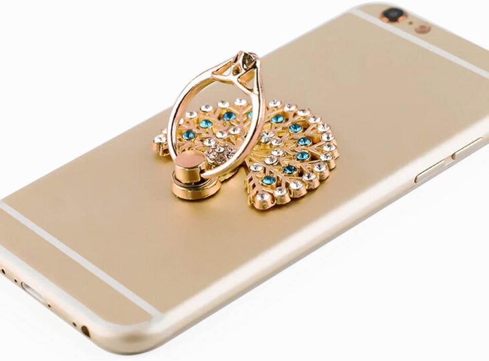Phone Ring Stand Holder A Fashion Mobile Phone Holder 360 Degree Rotating Ring Grip Universal Mobile Phone Finger Ring Romantic Peacock Open Screen Metal Cell Phone Finger Ring Stand Grip