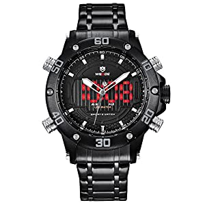 Watch,Mens Watches,Analog Digital Sport Watch With Stainless Steel Strap Dual Time Waterproof Male Outdoor Military Wrist Watch