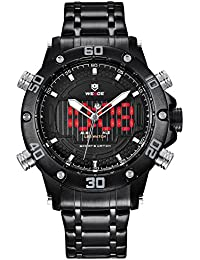 Watch,Mens Watches,Analog Digital Sport Watch With Stainless Steel Strap Dual Time Waterproof