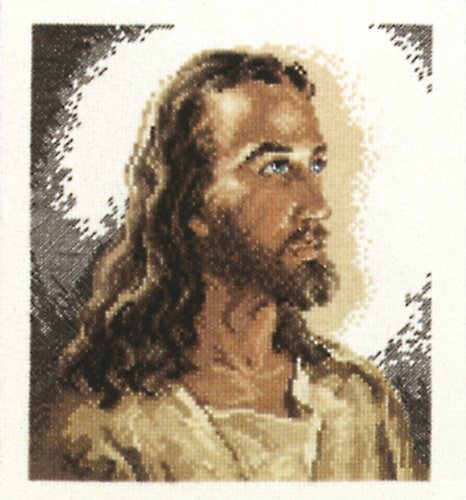 Janlynn 1149-00 14 Count Portrait of Christ Counted Cross Stitch Kit, 6-7/8 by 7-3/4-Inch
