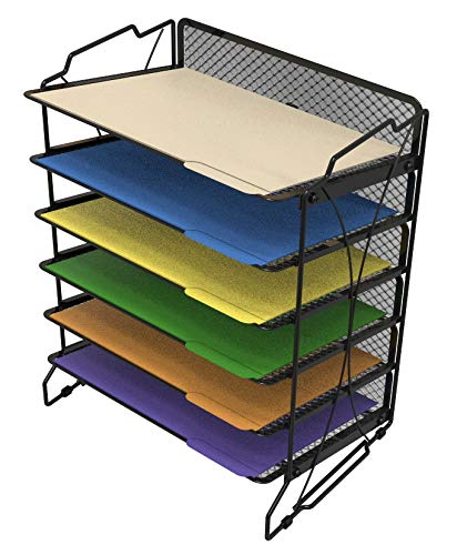 CAXXA Stackable 6 Compartment Mesh Tray Desktop Organizer Document Letter Paper File Tray Sorter | Office and Home, Black ()