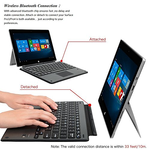 Keyboard For Surface Pro 3,ZAMO Wireless Bluetooth Keyboard For Surface Pro 3/Pro 4 by ZAMO (Image #3)