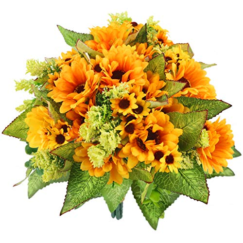 JOHOUSE 5PCS Artificial Sunflower Bouquet, 9.8inch Silk Sunflower Wedding Flower, Home Decoration Wedding Decor