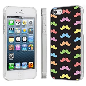 Apple iPhone 5 Hard Plastic Cover Case - Rainbow Mustache By SkinGuardz