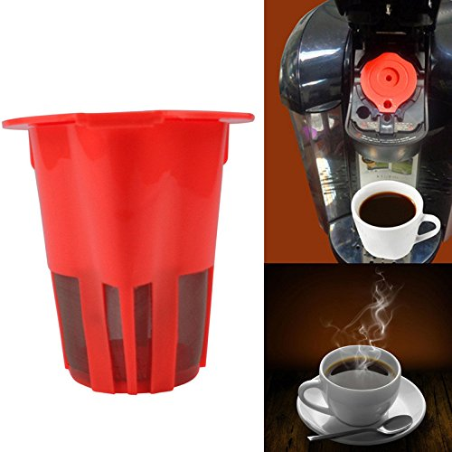 Refillable Capsules Pods Reusable Coffee Capsule K-Carafe Cup Filters For Keurig 2.0 K500 K400 Brewers - Red