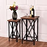 New MTN-G Set of 2 End Table Set Side Table Coffee Night Stand Accent Hallway Display