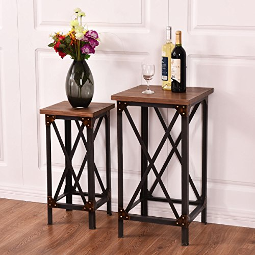 New MTN-G Set of 2 End Table Set Side Table Coffee Night Stand Accent Hallway Display by MTN Gearsmith
