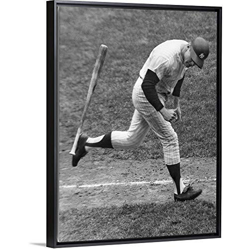 Mickey Mantle of The New York Yankees Black Floating Frame Canvas Art, 14