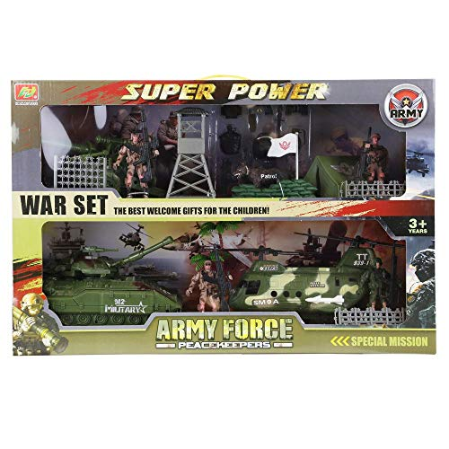 Mozlly Military Army Force Peacekeepers Special Operations War Play Set, Over 30 Pieces Playset Includes Rescue Chopper Tank Anti-Aircraft Missile Poseable Soldier Weapons & Accessories - Boy Kid Toy (Best Anti Tank Missile)