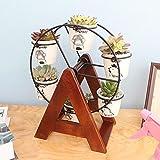 LQQGXL Desktop mini flower box solid wood office small tile window cut small meat meat tank stand Flower stand