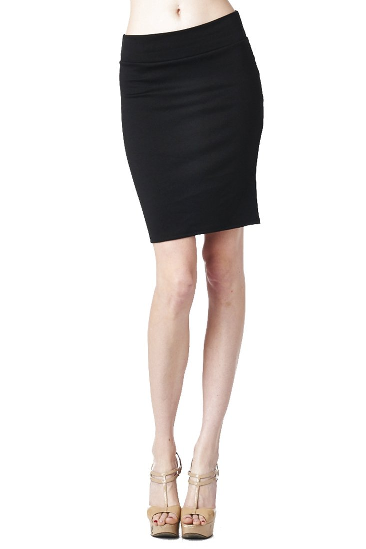 82S-9017PT-BLK Women'S Casual To Office Wear Above Knee Pencil Skirt - Black M