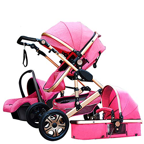 Baby Stroller,Babyfond-JTBS 3 in 1 Folding Baby Carriage Travel System Pram Shockproof Pushchair with Lightweight Sleeping Basket,Safe Car Seat for Newborn (Hot Pink) (System 1 Seat Car)