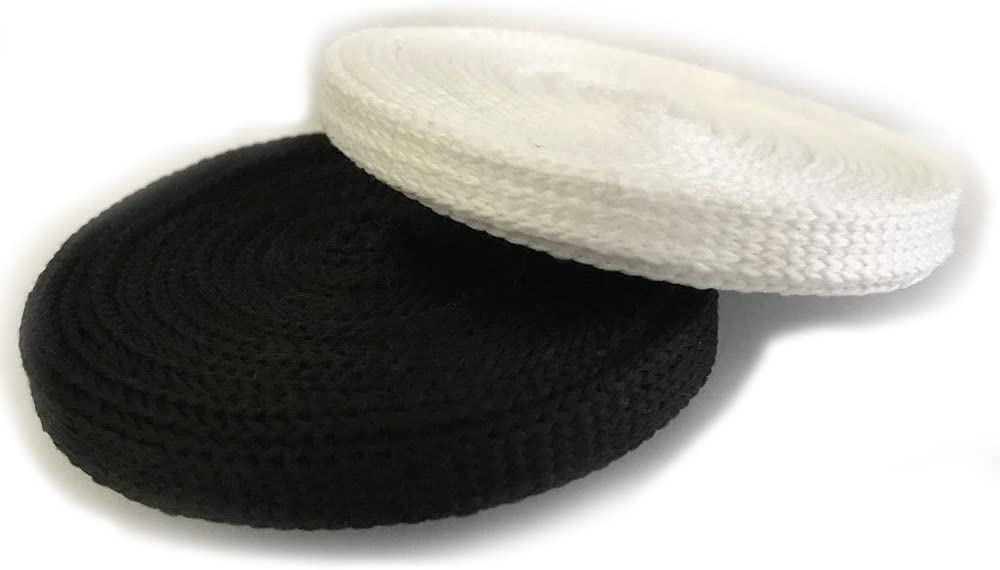 White Flat Draw string Draw Cord Trim Lace Anrox Suppy Co 3 YARDS, WHITE 3//8 Polyester Black