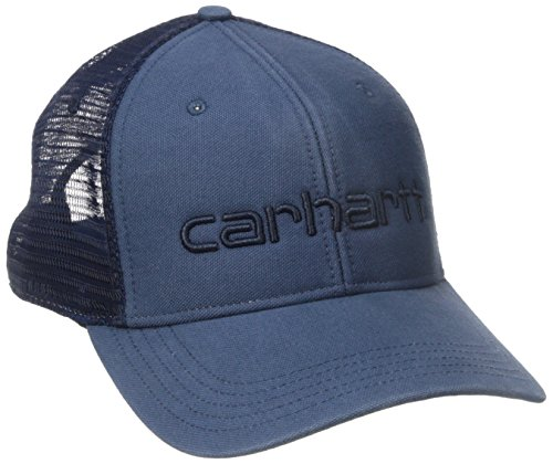 Carhartt Visor Embroidered - Carhartt Men's High Profile 100 Percent Cotton Dunmore Moisture Wicking Cap, Dark Blue, One Size