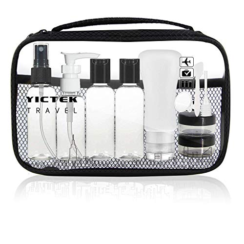 (Travel Bottles Containers, TSA Approved Travel Size Toiletry Bottles Set with Toiletry Bag with Leak-Proof Travel Accessories for Liquids,Carry-On Luggage for Women/Men(Clear))