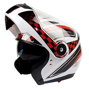 Casco de motocicleta para adultos con doble visera abatible, B, L (57-