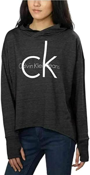 Calvin Klein Jeans Ladies Logo Lightweight Relaxed Fit Hoodie