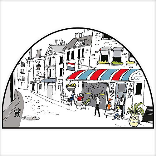 (Simple Modern Semi-Circular Non-Slip Carpet Drawing of a Street in Paris A Cafe and The Street Lamp Illustration Print White and Grey Bedroom Bathroom Rug W31 x H20 INCH)