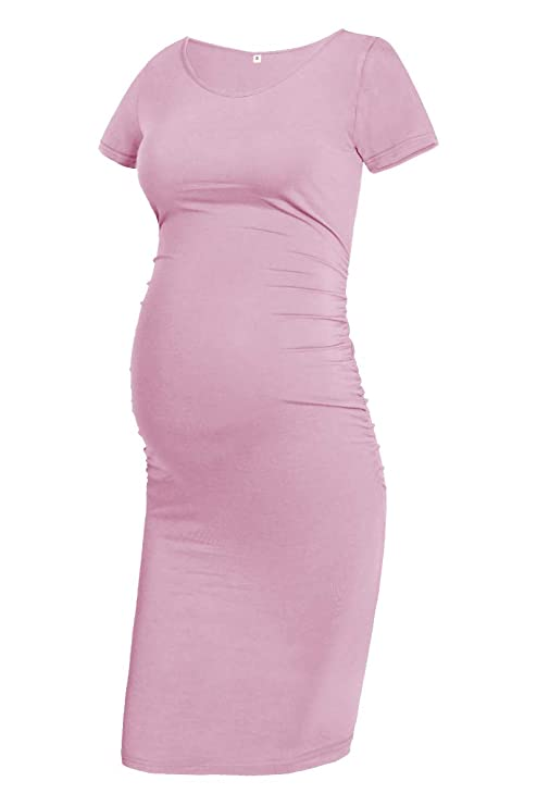 GLAMIX Womens Maternity Bodycon Dress Short Sleeve Ruched Casual Dress Pregnancy Clothes