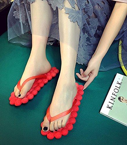 Butterme Frauen kreative Blase Satin flache Flip Flops böhmische Sommer Sandalen Strand Schuhe Sandale rutschfeste Kunststoff rot