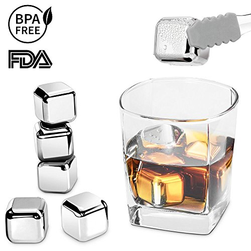 Stainless Steel Ice Cubes, RIVERSONG Whiskey Stones Reusable Ice Cubes Chilling Stones Rocks for Wine, Beer, Beverage- FDA approved (Set of 8) by RIVERSONG