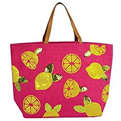 Fashion Summer Dazzle Sequin Jute Tote