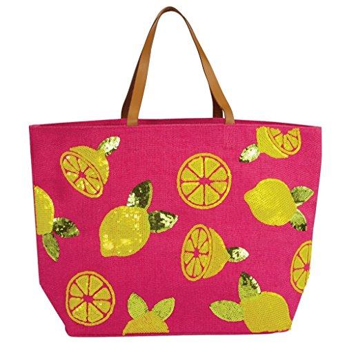Mud Pie 8613345P Sequin Dazzle Jute Beach Tote Bag, Pink ()