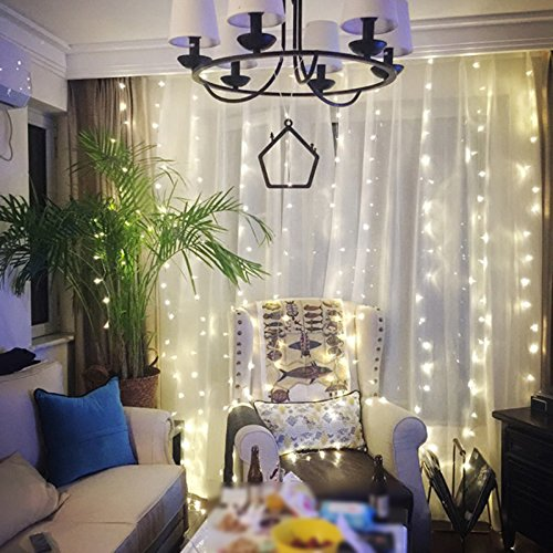 Twinkle Star 300 LED Window Curtain String Light Christmas,Wedding Party Home Garden Bedroom outdoor indoor wall Decorations 9.8ft (White)