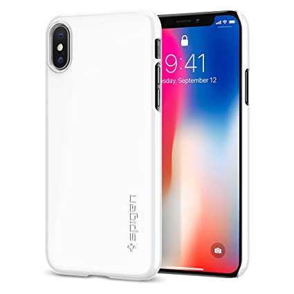 official photos 46a44 5bd27 Spigen Thin Fit with Premium Matte Finish Coating Designed for Apple iPhone  Xs Case (2018) / Designed for Apple iPhone X Case (2017) - Jet White